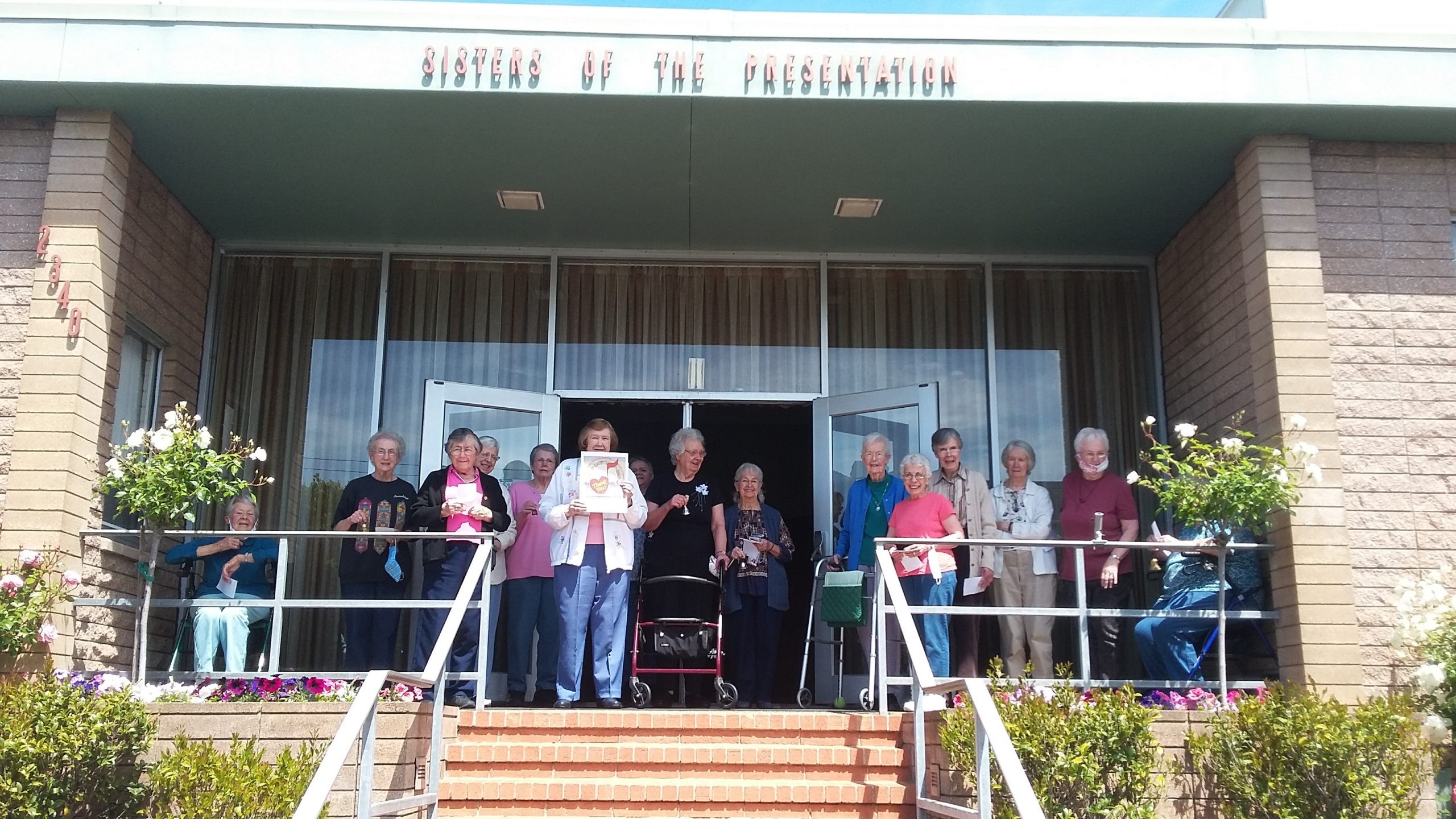 "Presentation Sisters gathered on the porch of the San Francisco Motherhouse singing ""I Left My Heart in San Francisco"" to honor all health care and frontline workers."